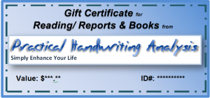 Practical Handwriting Analysis Gift Certificate - blue